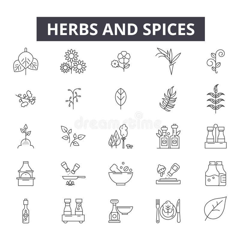 Травы и специи выравнивают значки, знаки, набор вектора, концепцию иллюстрации плана бесплатная иллюстрация