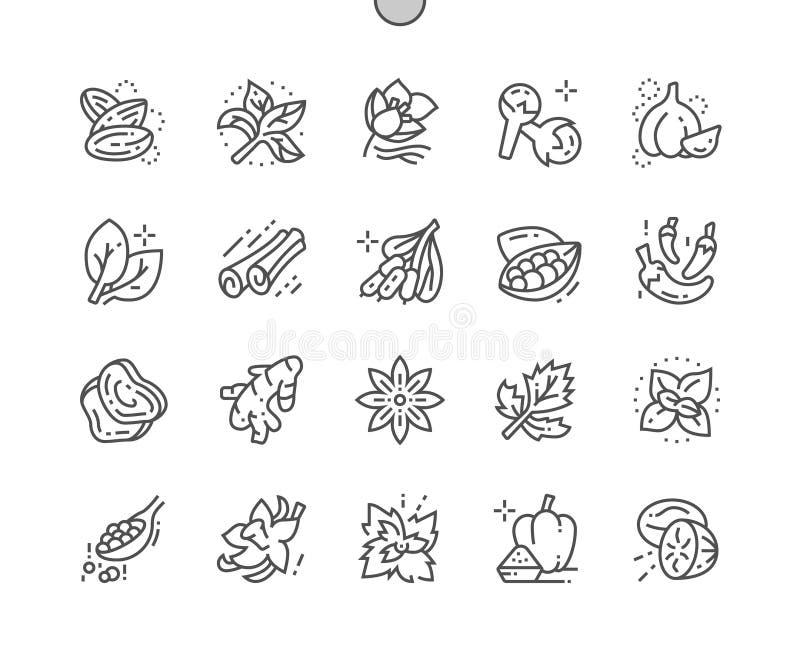 Травы и специи Хорошо произвели линию решетку 2x значков 30 совершенного вектора пиксела тонкую для графиков и Apps сети иллюстрация вектора