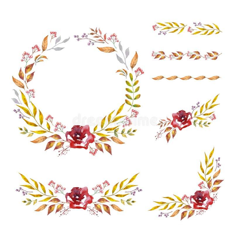 Травяная рамка вектора смешивания Рука покрасила заводы, ветви и листья на белой предпосылке Естественный дизайн карты падения иллюстрация штока