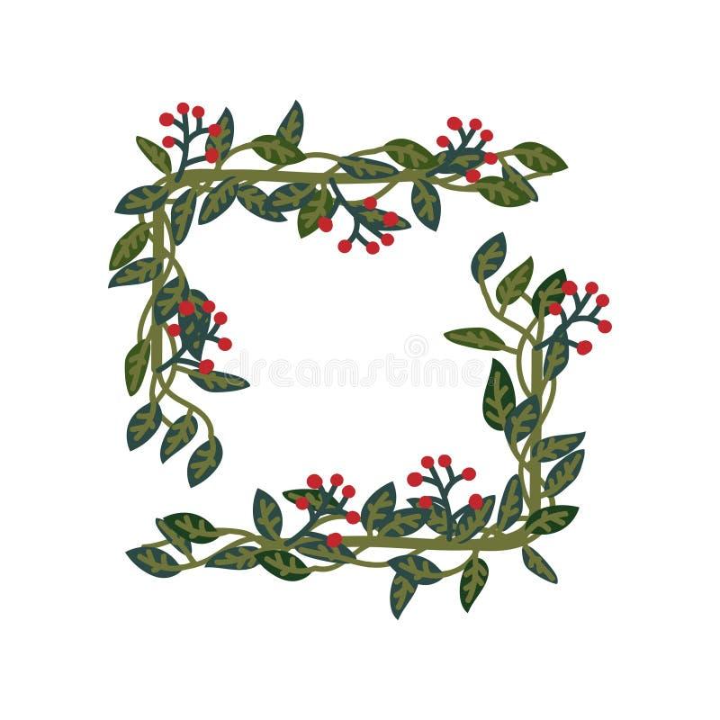 Травяная рамка, зеленые листья и элемент дизайна красных ягод естественный для приглашения свадьбы, сохраняют дату, поздравительн бесплатная иллюстрация