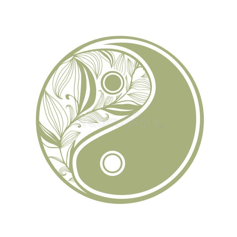 Травяное yin и знак yang иллюстрация штока