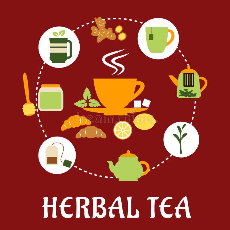 Травяной дизайн чая плоско infographic с значками иллюстрация вектора