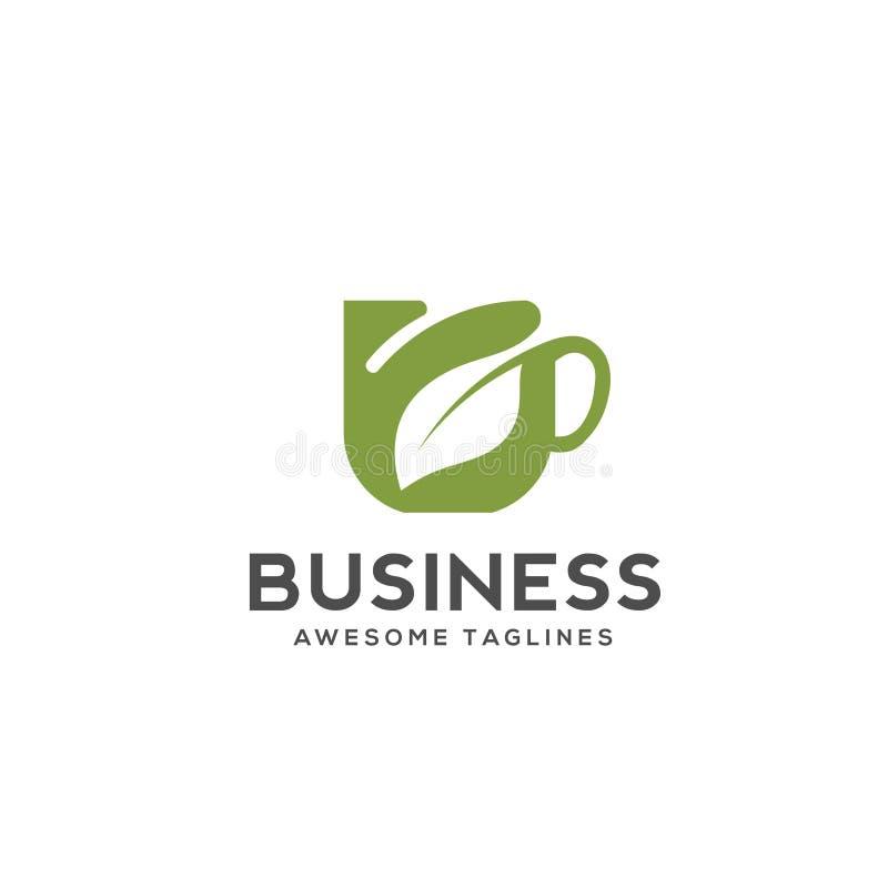 Травяной логотип чашки зеленого чая иллюстрация штока