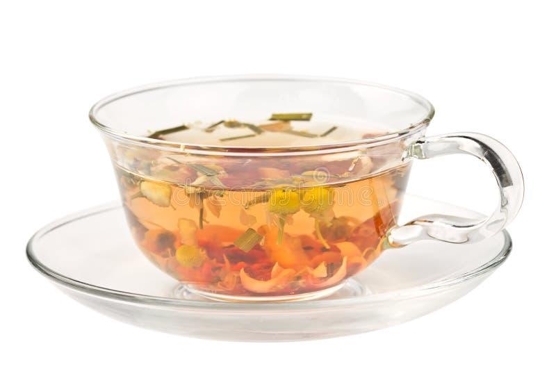Травяной чай в стеклянной чашке стоковые фотографии rf