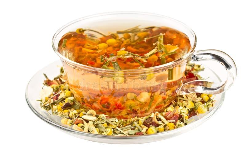 Травяной чай в стеклянной чашке стоковые изображения rf