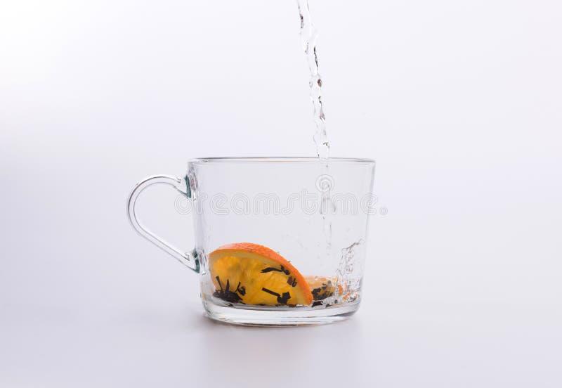 Травяной чай лить в чашке изолированной на белизне стоковое фото rf