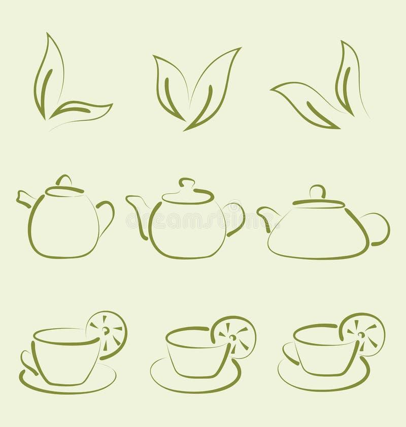 Травяной чай, установил чашки и чайники иллюстрация вектора