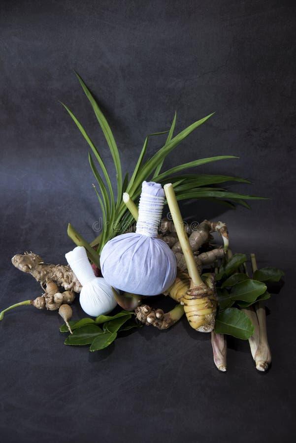 Травяной шарик обжатия для тайского массажа и процедур спа популярных для релаксации и обработок Ayurvedic выворачивая набор, тай стоковые фото