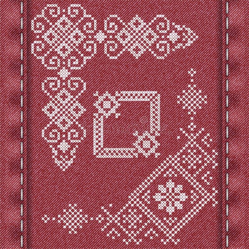 Традиционная вышивка в стиле зимы иллюстрация вектора