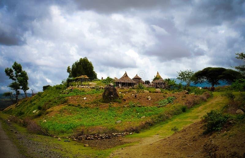 Традиционная деревня племени Konso в карате Konso, Эфиопии стоковые фотографии rf