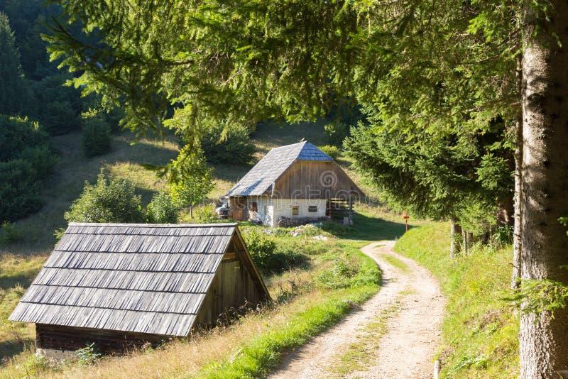 Традиционная деревянная кабина хаты в горных вершинах горы на сельском ландшафте в slovenian Джулиане Альпах, Словении стоковые фото