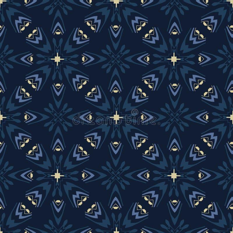 Традиционная картина вектора сини индиго японская безшовная Орнамент решетки лоскутного одеяла бесплатная иллюстрация