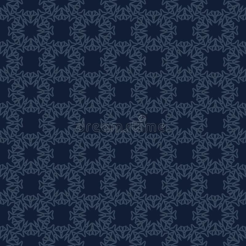 Традиционная картина вектора сини индиго японская безшовная Выстегивая стиль ткани иллюстрация вектора