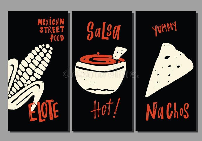 Традиционная мексиканская еда улицы Установите шаблонов руки вычерченных Elote, nachos, сальса Сделанный в векторе иллюстрация штока