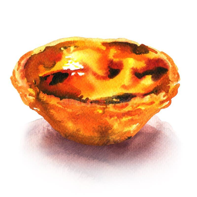 Традиционная португалка Pasteis de Belem de nata, очень вкусный десерт, кислая помадка, изолированная, иллюстрация акварели дальш иллюстрация вектора