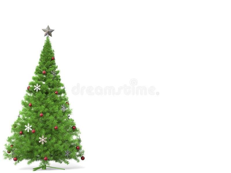 Традиционная рождественская елка с серебряными украшениями снежинки и красными безделушками иллюстрация штока