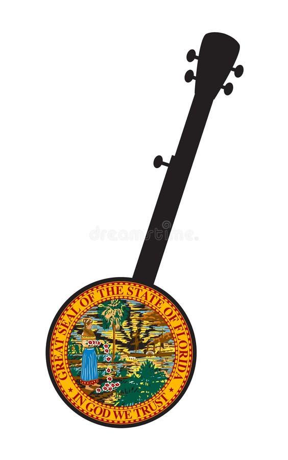 Традиционная 5-ти струнная баньо Силуэт с значком флага Флориды бесплатная иллюстрация