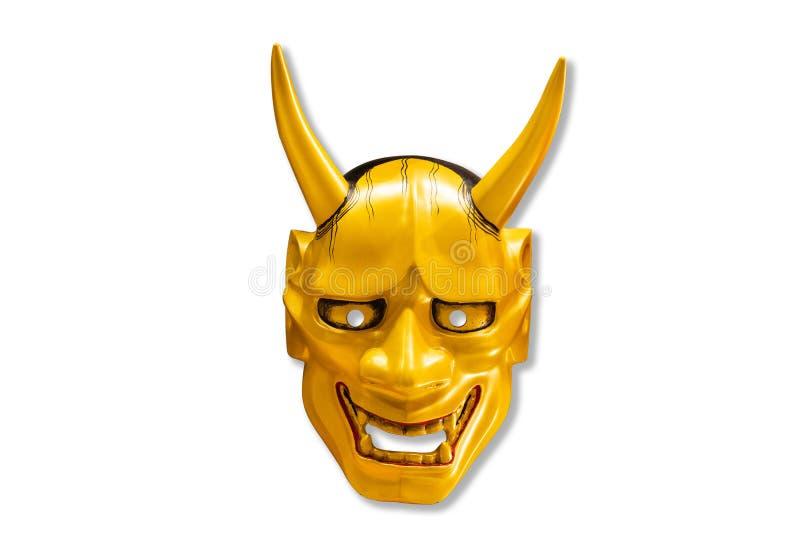 Традиционная японская золотая маска Kabuki маски дьявола стоковое фото rf