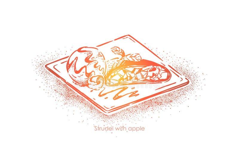 Традиционное австрийское блюдо, штрудель с яблоком, вкусной выпечкой с завалкой плода, пекарней, меню ресторана бесплатная иллюстрация