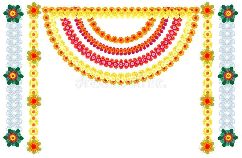 Традиционное индийское украшение гирлянд цветка на праздник иллюстрация штока