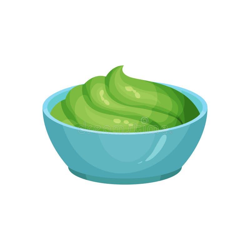 Традиционное мексиканское гуакамоле в голубом керамическом шаре погружения Dishes компонент варить ингридиент Натуральные продукт иллюстрация вектора