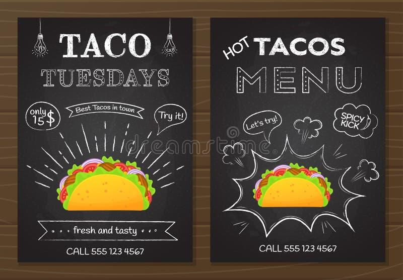 Традиционное мексиканское меню тако доски мела фаст-фуда бесплатная иллюстрация