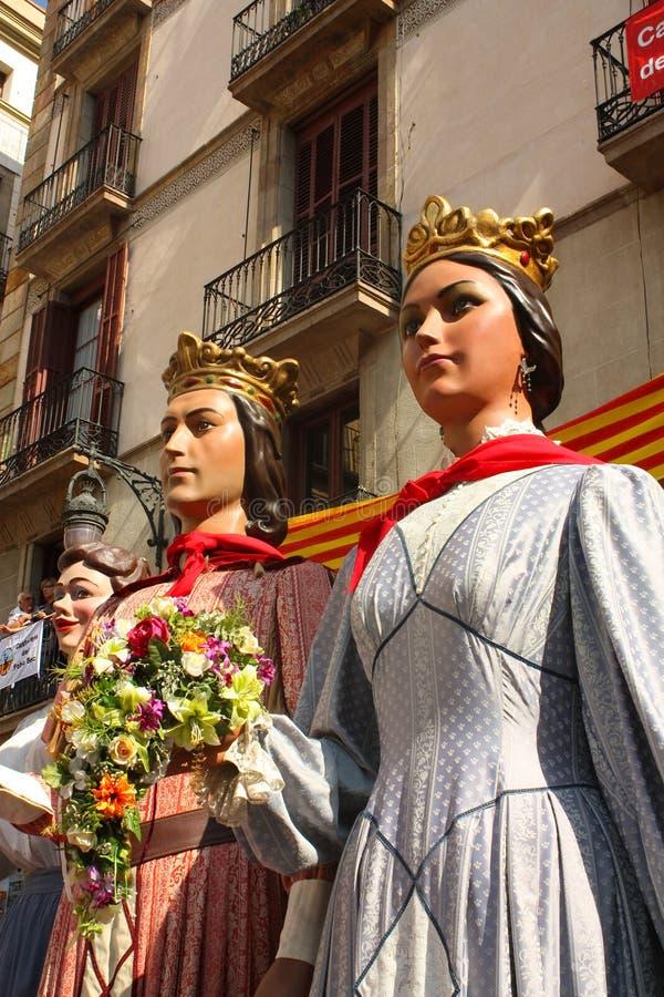 традиционное празднеств barcelona гигантское стоковая фотография