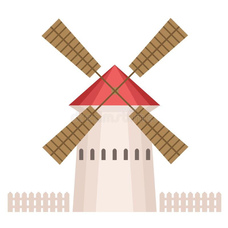Традиционное сельское здание ветрянки, экологическое аграрное производство, элемент дизайна городского или сельского вектора ланд иллюстрация штока