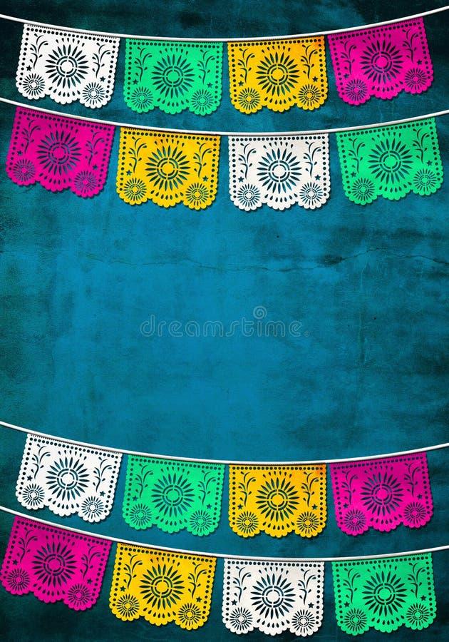 традиционное украшения мексиканское бумажное иллюстрация вектора