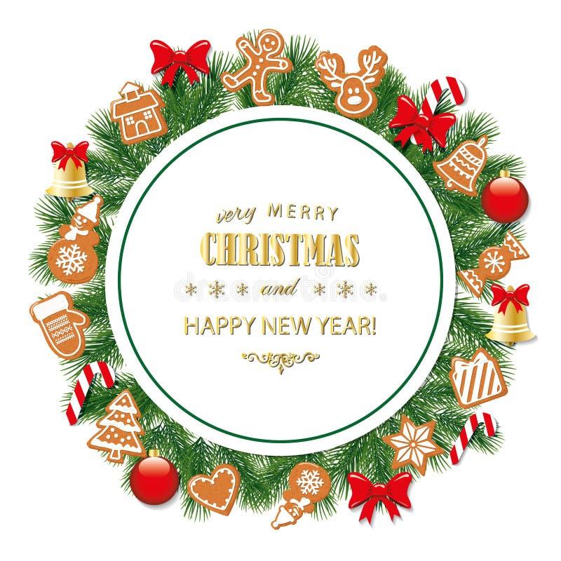 Традиционно украшенная рамка рождества и Нового Года круглая бесплатная иллюстрация