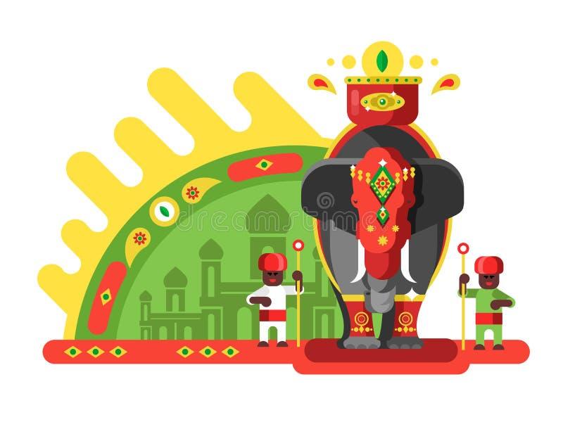 Традиционно украшенный индийский слон иллюстрация вектора