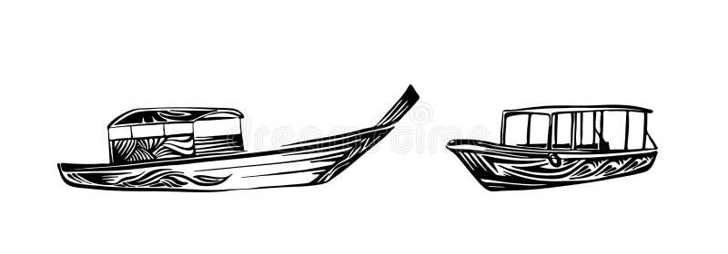 Традиционные азиатские деревянные шлюпки Нарисованный рукой эскиз плана Чертеж излишка бюджетных средств вектора изолированный на иллюстрация штока