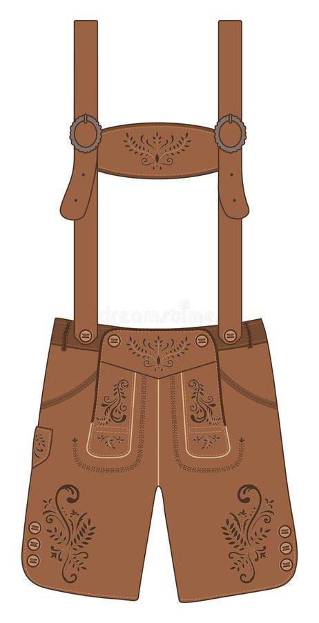 Традиционные брюки австрийских и баварских ледерхозенов кожаные Иллюстрация вектора нарисованная рукой иллюстрация вектора