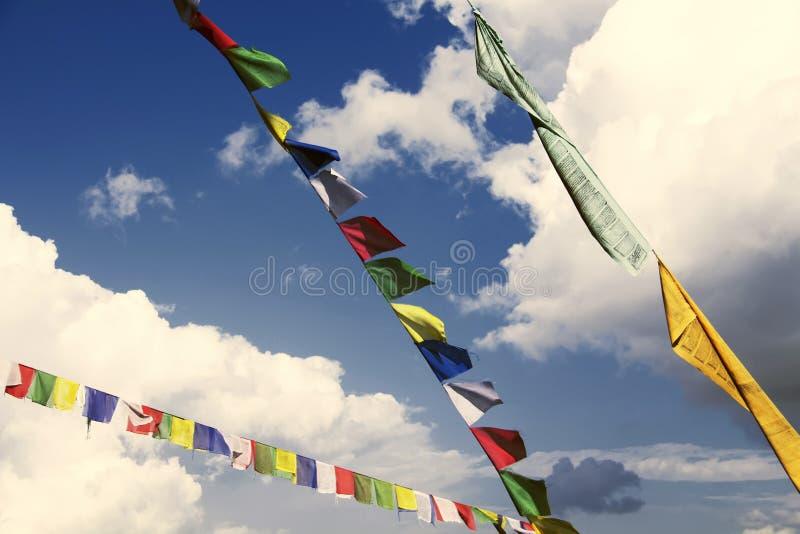 Традиционные буддийские тибетские флаги молитве против голубого неба стоковое фото rf