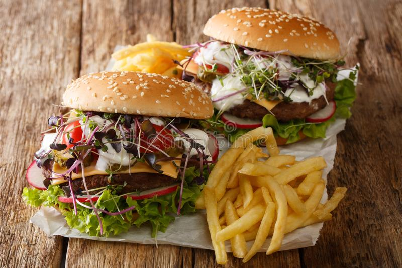 Традиционные бургеры фаст-фуда со свежими овощами, microgreen, чеддер и белый соус, с французским концом-вверх картофеля фри E стоковые изображения