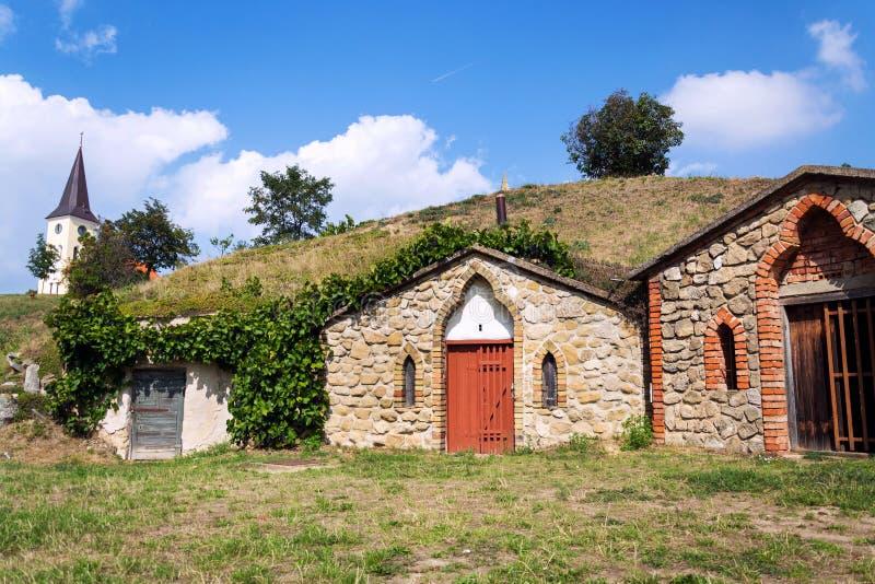 Традиционные винные погреба, Vrbice, район Breclav, южная Моравия, чехия стоковая фотография rf