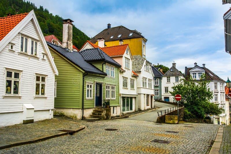 Традиционные дома в старом городке Бергена, Норвегии стоковые изображения rf