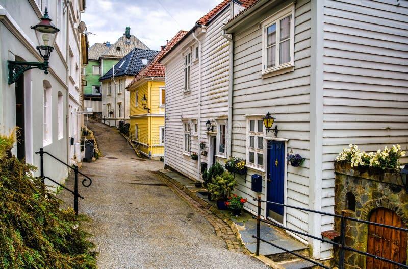 Традиционные дома в старом городке Бергена, Норвегии стоковые фото