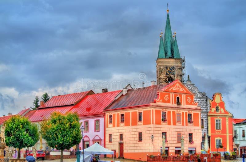 Традиционные дома на главной площади Telc, чехии стоковое изображение rf