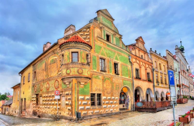Традиционные дома на главной площади Telc, чехии стоковые фотографии rf