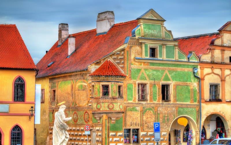 Традиционные дома на главной площади Telc, чехии стоковая фотография rf