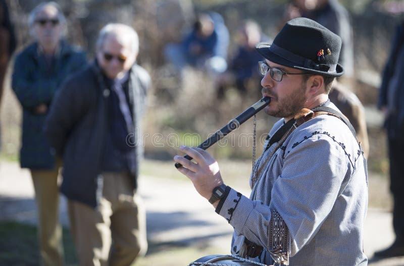 Традиционные игрок каннелюры и барабанщик от северной эстремадуры стоковая фотография