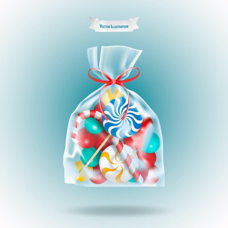 Традиционные конфеты леденец на палочке помадок и тросточка конфеты упаковали в прозрачном пакете саше с красной лентой на сини иллюстрация штока