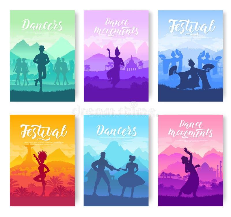Традиционные танцы от во всем мире комплекта карточек брошюры Культурный танцор вводит шаблон в моду flyear, кассеты иллюстрация штока