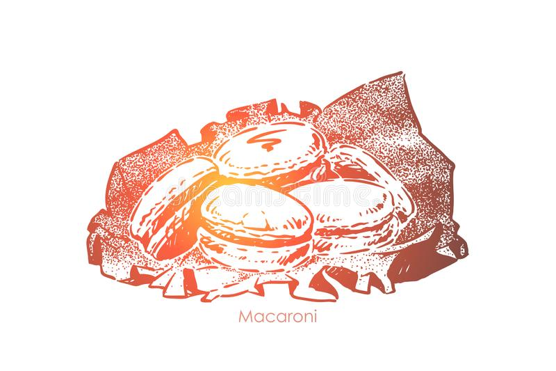 Традиционные французские помадки, кондитерская, закуски пекарни, сладкие печенья, печенья, вкусный десерт иллюстрация штока