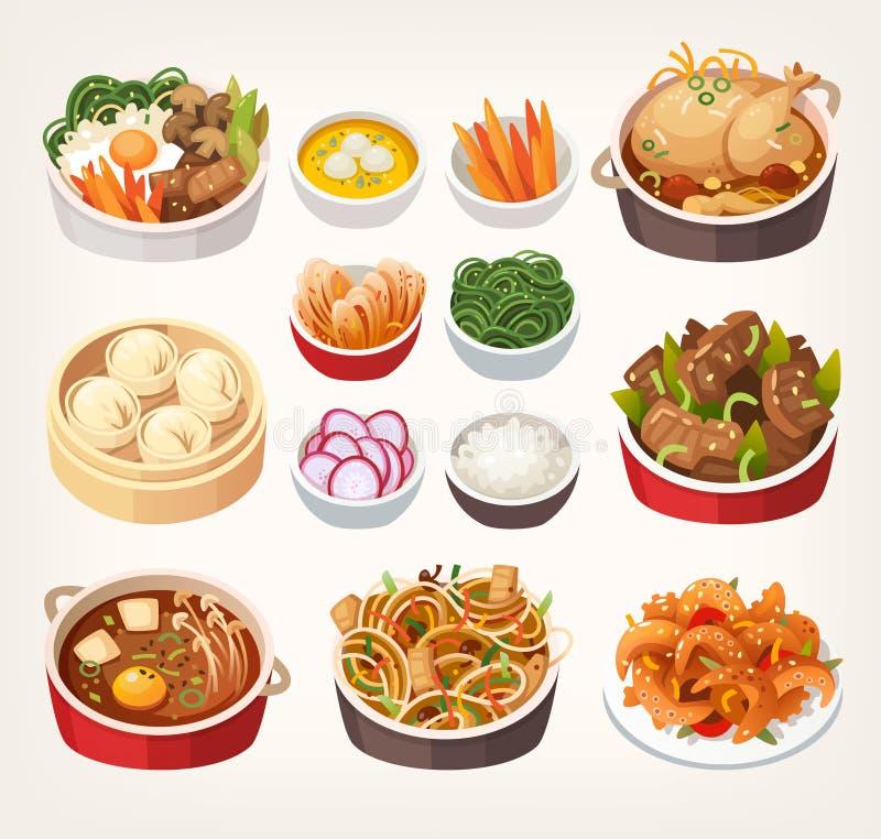 Традиционные южнокорейские блюда еды иллюстрация штока