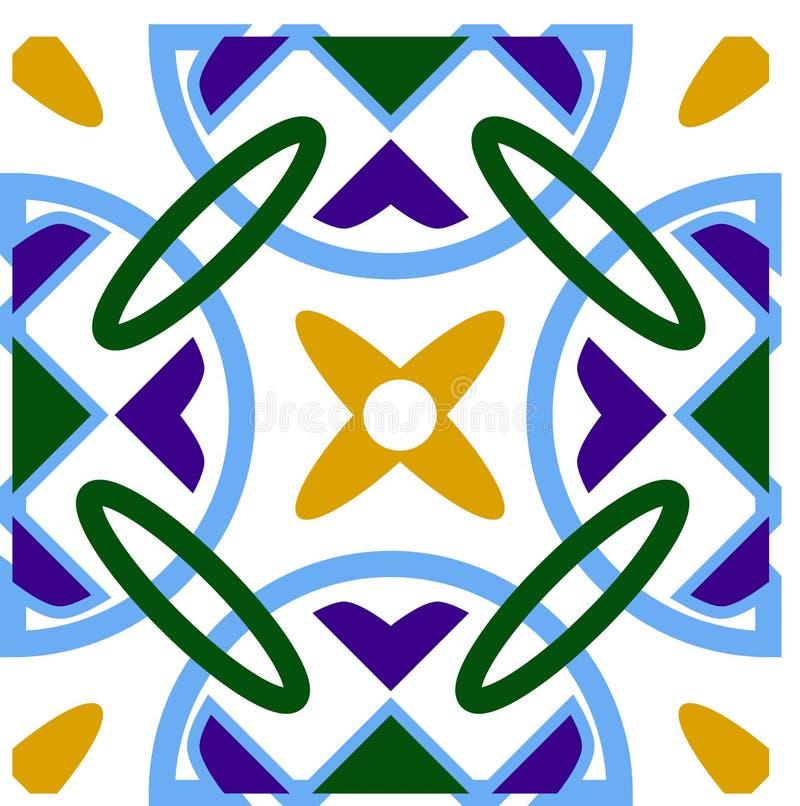 Традиционные azulejos Португалии воодушевили безшовную картину для дизайна стены и пола домашнего керамического Голубые круги с г стоковое фото