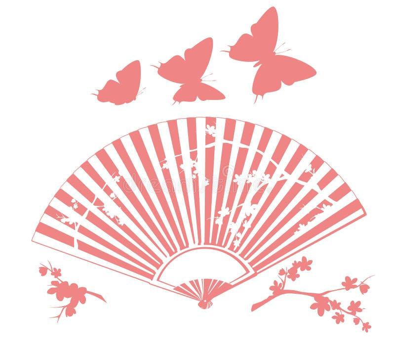 Традиционный азиатский вентилятор руки с зацветая оформлением вектора Сакуры бесплатная иллюстрация