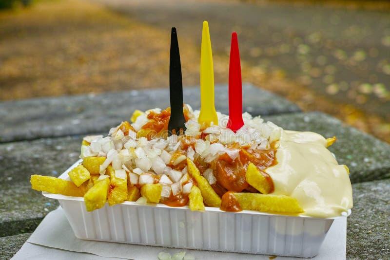 Традиционный бельгийский фаст-фуд, зажаренные картофельные стружки с mayonna стоковые фото