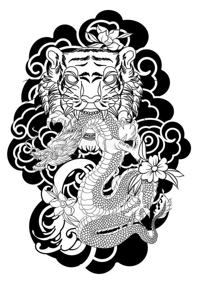 Традиционный дизайн татуировки японца для заднего тела Сторона тигра с старым драконом на предпосылке облака иллюстрация вектора